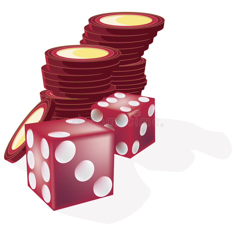 Dice and Chips with clipping path. Illustration with clipping path stock illustration
