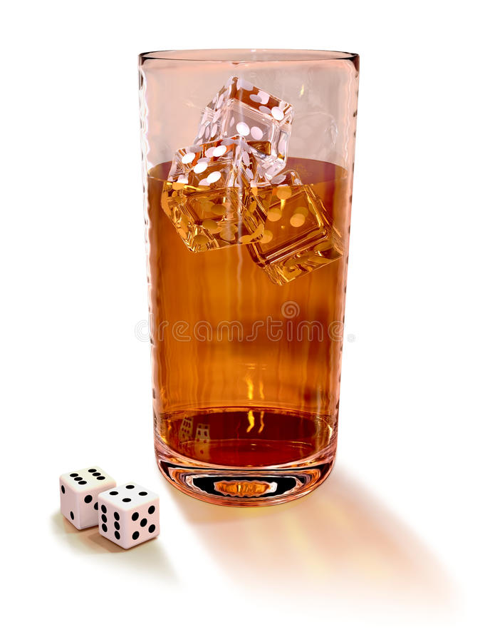 Dice with cocktail royalty free stock photo