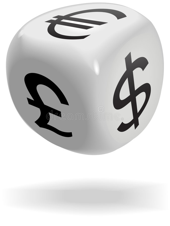Dice cube rolls currency symbols of money game stock photo