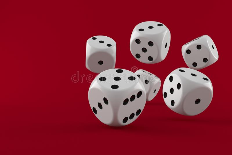 Dice. Isolated on red background vector illustration