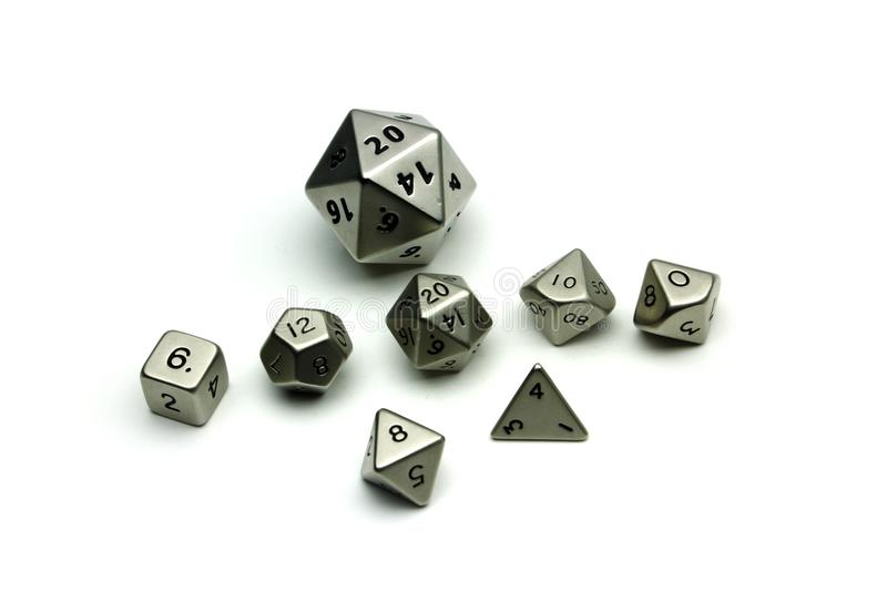 Dice with different number of sides royalty free stock image