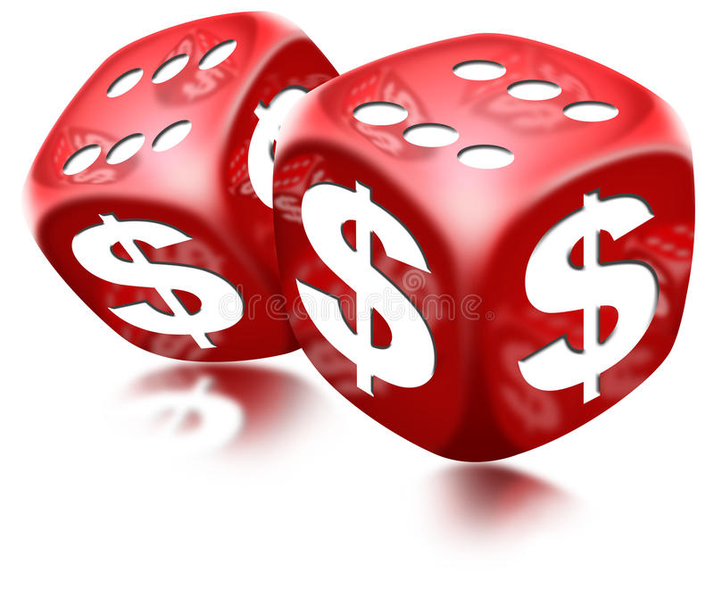 Dice Dollar Game. Pair of red dice with six and dollar sign on white background royalty free illustration