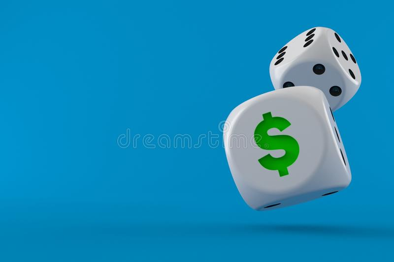 Dice with dollar symbol. Isolated on blue background. 3d illustration royalty free illustration