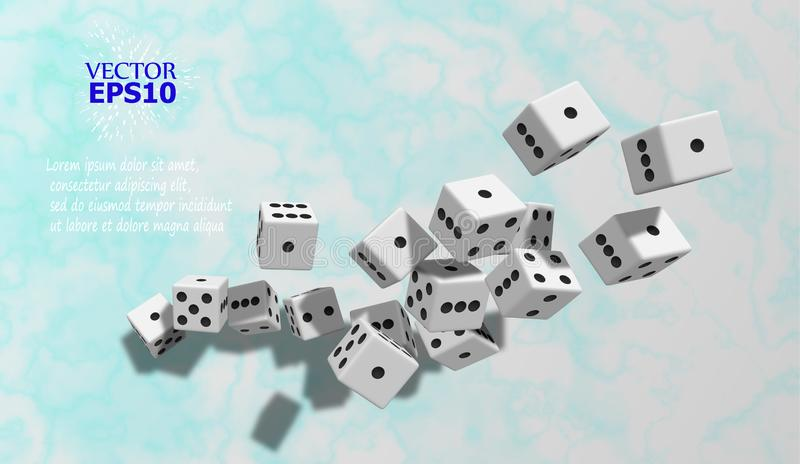 The dice fall on the marble surface. Vector illustration. Presentation background. Eps10. The dice fall on the marble surface. Vector illustration. Presentation vector illustration