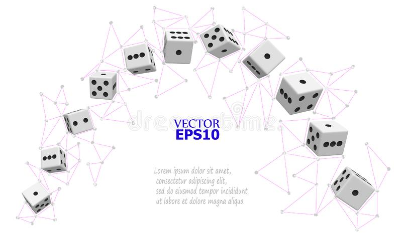 Dice in the form of an arch surrounded by a network of lines and points in the form of triangular polygons. Vector illustration. P. Eps10. Dice in the form of an vector illustration