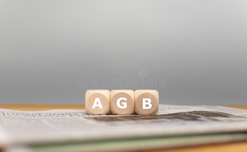 Dice form the German expression AGB stock photography