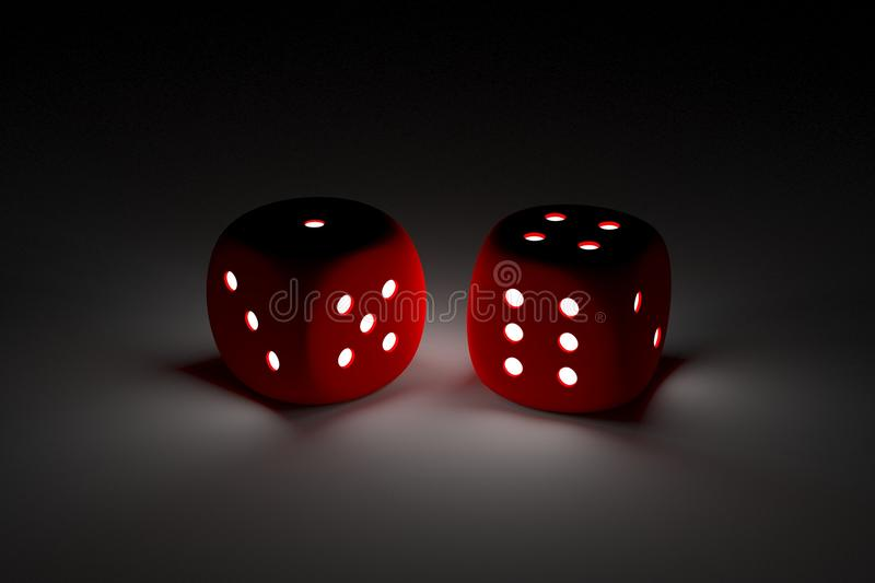 Dice in the form of neon stock illustration