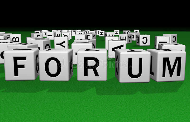 Dice Forum. Dice on a green carpet making the word Forum royalty free illustration