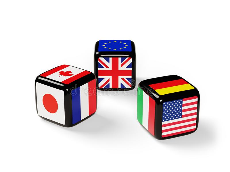Dice with G7 flags royalty free illustration
