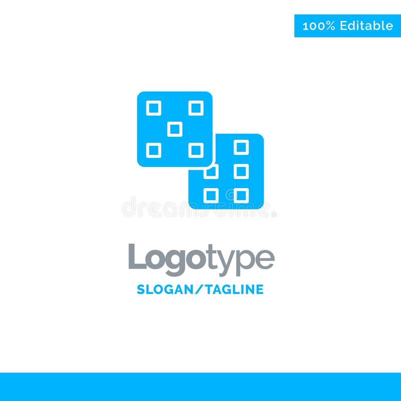 Dice, Gaming, Probability Blue Business Logo Template stock illustration