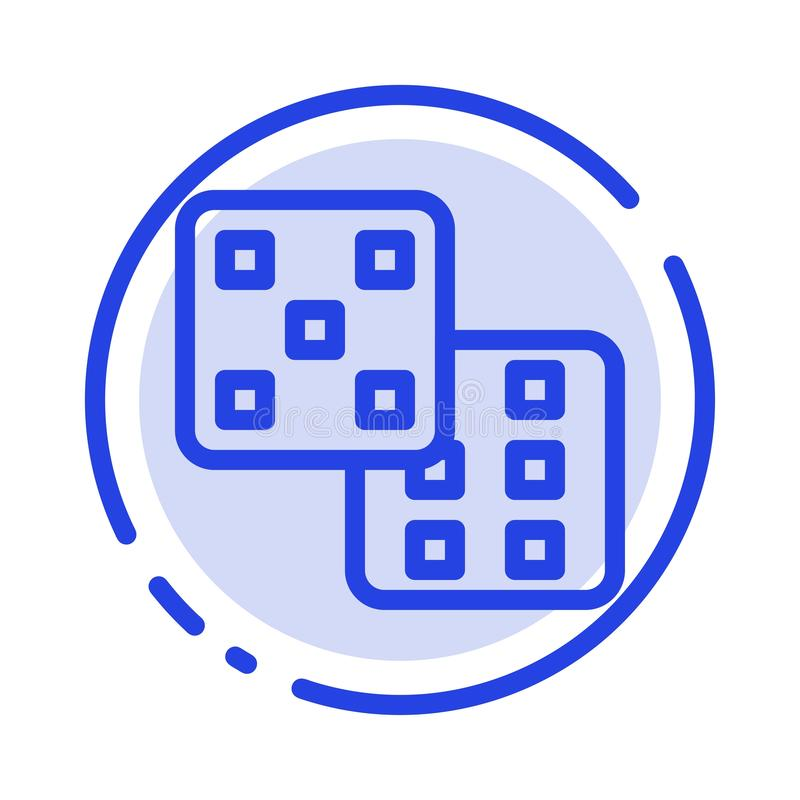 Dice, Gaming, Probability Blue Dotted Line Line Icon royalty free illustration