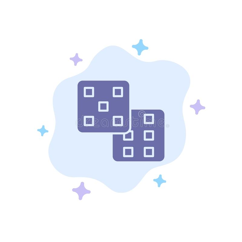 Dice, Gaming, Probability Blue Icon on Abstract Cloud Background stock illustration