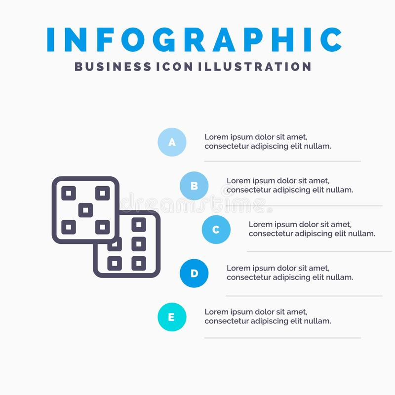 Dice, Gaming, Probability Blue Infographics Template 5 Steps. Vector Line Icon template stock illustration
