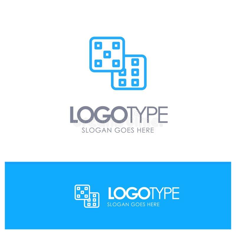Dice, Gaming, Probability Blue Logo Line Style royalty free illustration