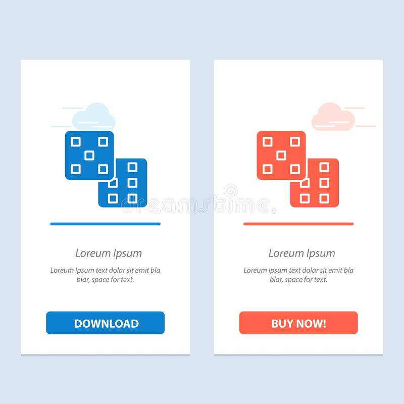 Dice, Gaming, Probability  Blue and Red Download and Buy Now web Widget Card Template vector illustration