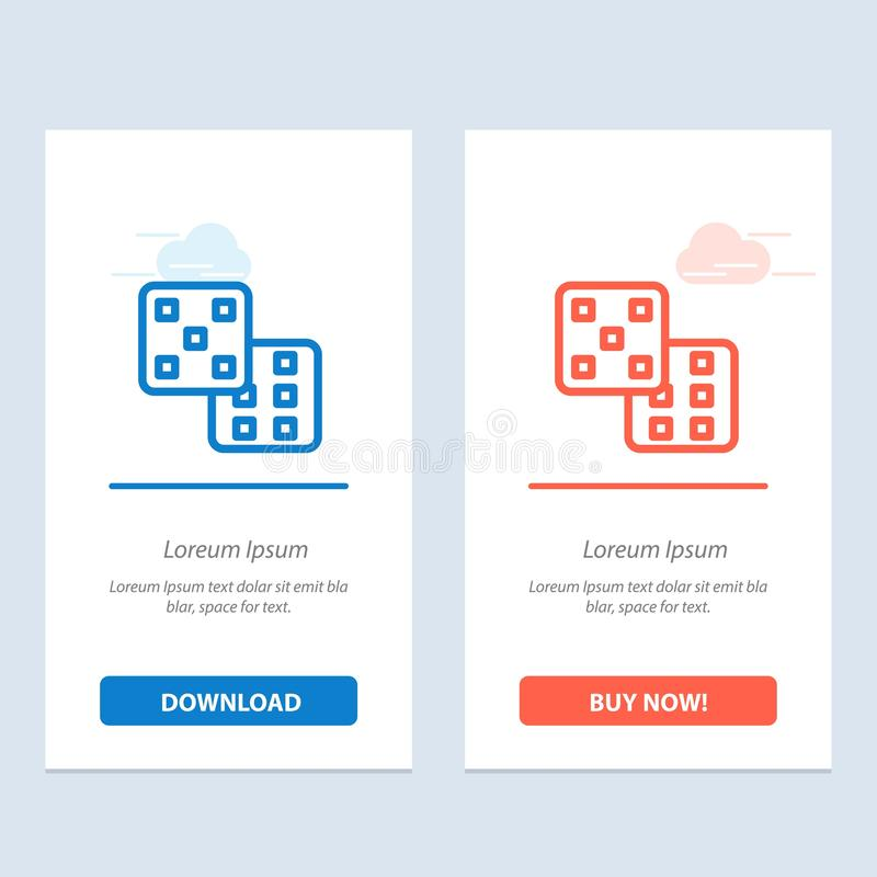 Dice, Gaming, Probability  Blue and Red Download and Buy Now web Widget Card Template stock illustration
