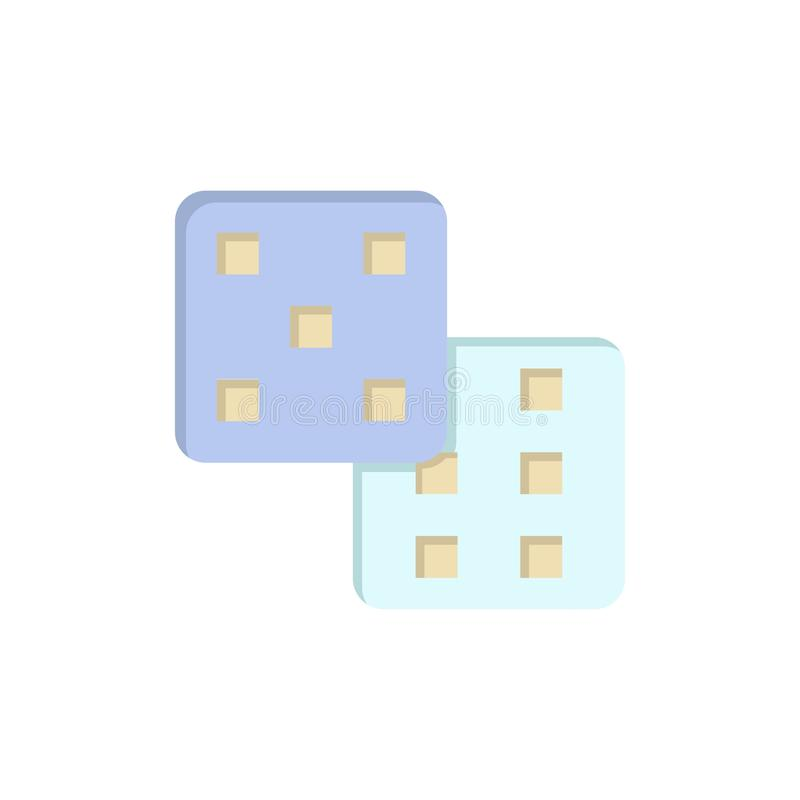 Dice, Gaming, Probability  Flat Color Icon. Vector icon banner Template stock illustration