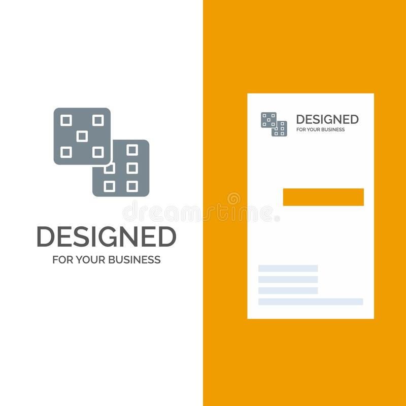 Dice, Gaming, Probability Grey Logo Design and Business Card Template royalty free illustration