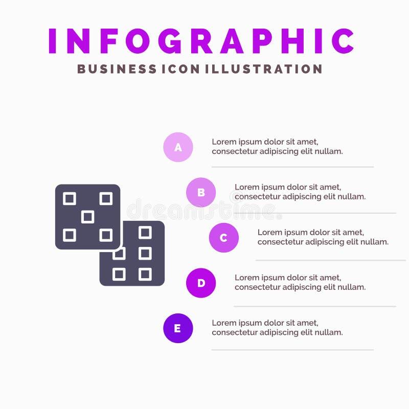 Dice, Gaming, Probability Infographics Presentation Template. 5 Steps Presentation royalty free illustration