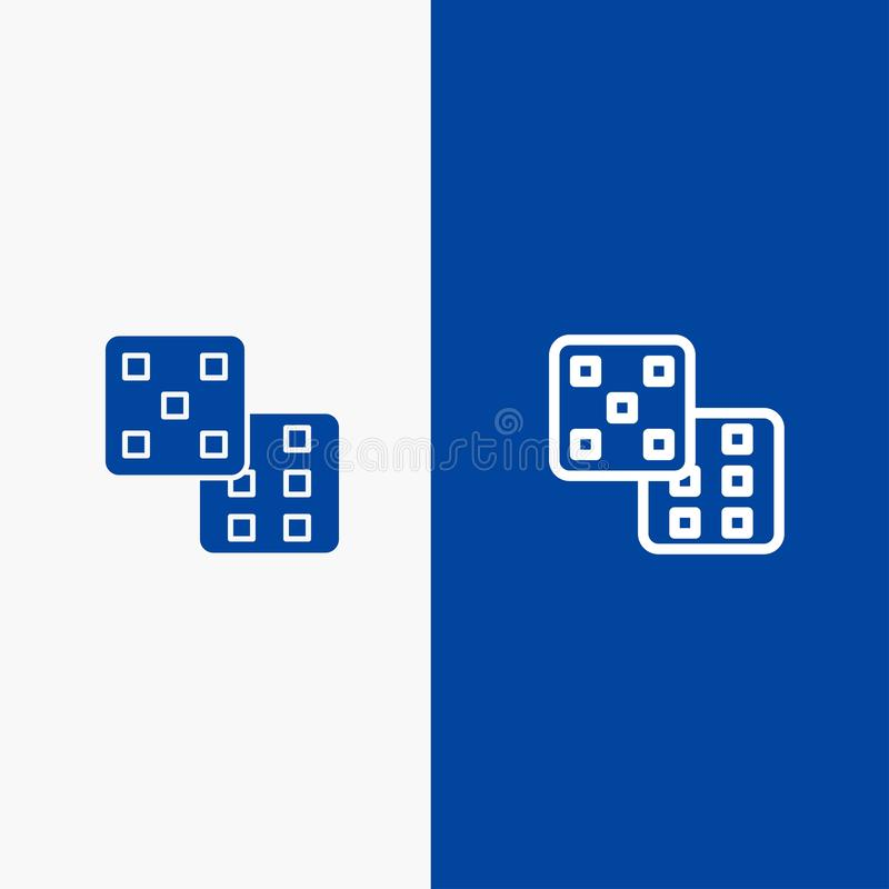 Dice, Gaming, Probability Line and Glyph Solid icon Blue banner vector illustration