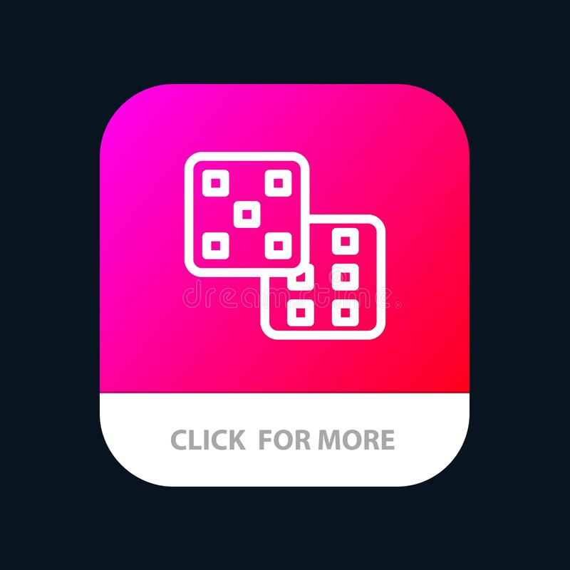 Dice, Gaming, Probability Mobile App Button. Android and IOS Line Version vector illustration