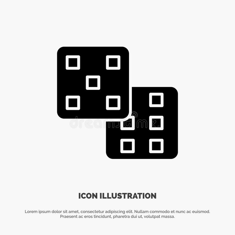 Dice, Gaming, Probability Solid Black Glyph Icon stock illustration