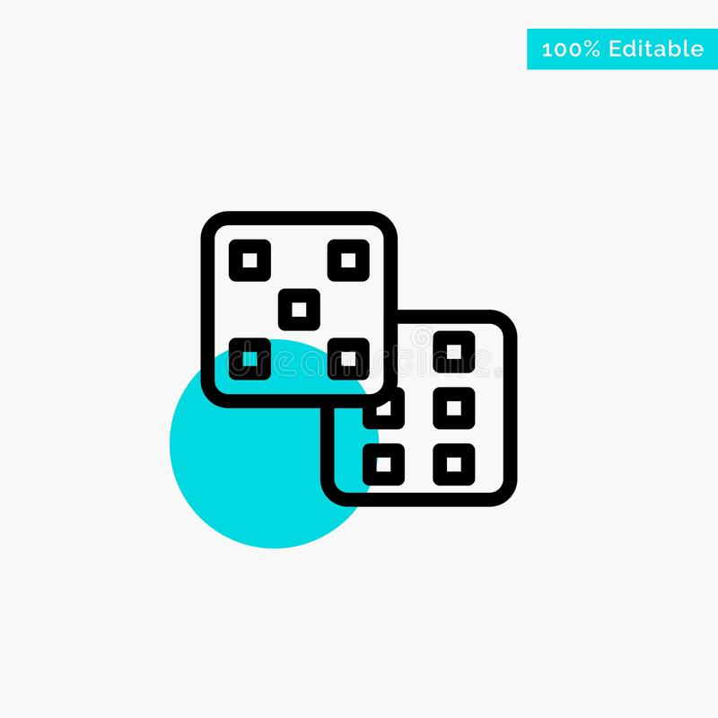 Dice, Gaming, Probability turquoise highlight circle point Vector icon royalty free illustration