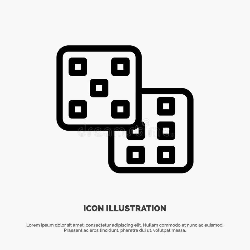Dice, Gaming, Probability Vector Line Icon royalty free illustration