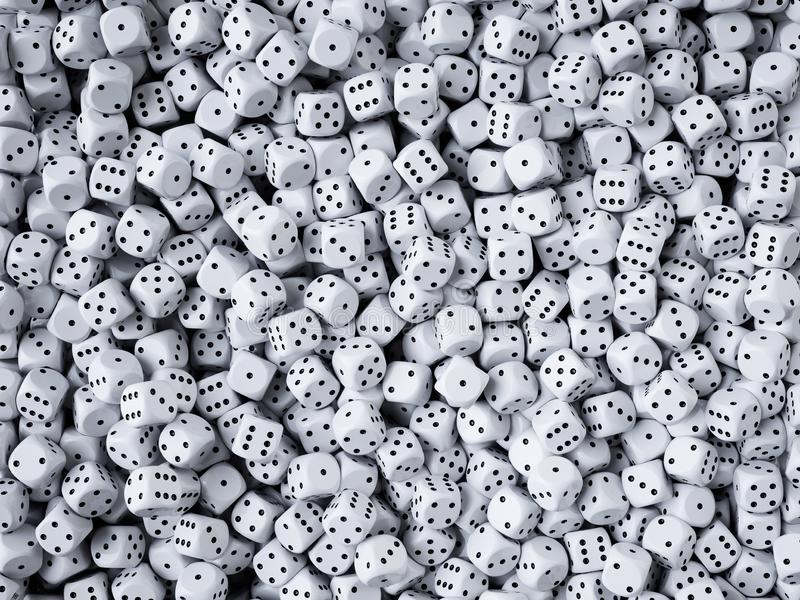 Dice heap background. 3d rendering illustration royalty free illustration