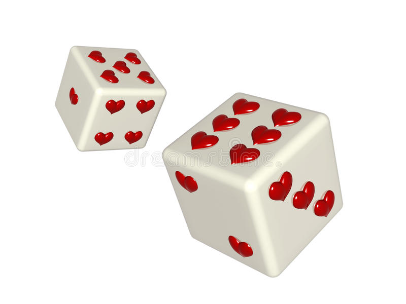 Dice with hearts vector illustration