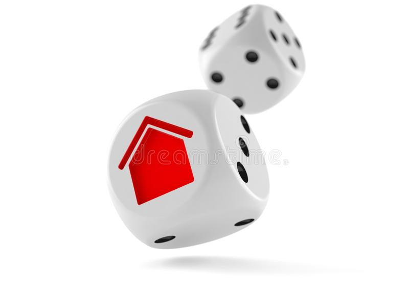 Dice with house icon stock illustration