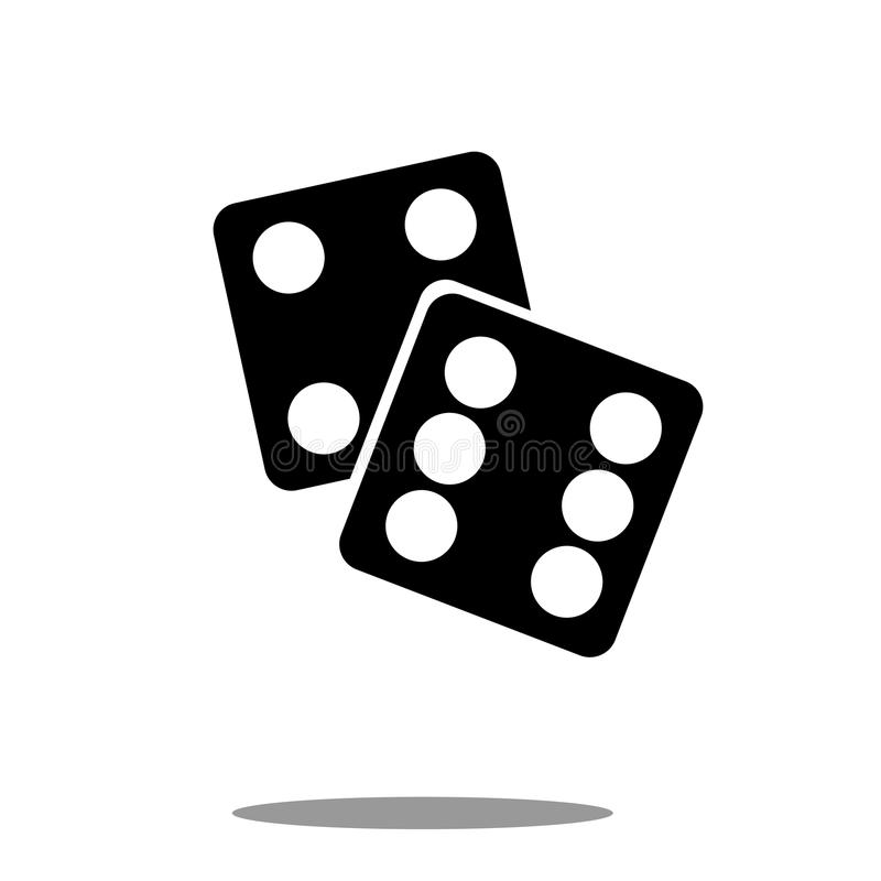 Dice icon black silhouette on white background Vector stock illustration