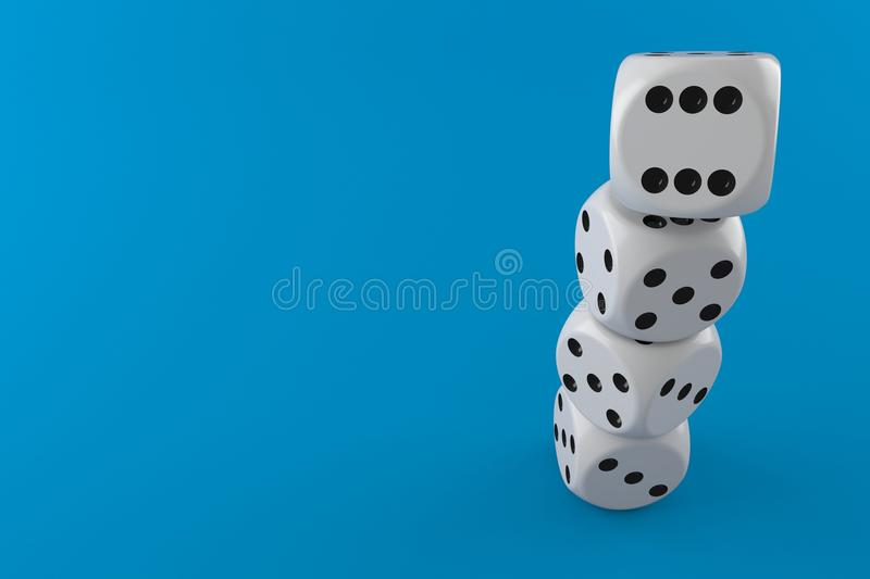 Dice. Isolated on blue background royalty free illustration