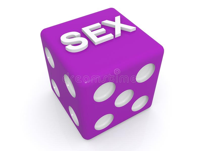 Dice landing on sex. 3d illustration of purple dice landing on the word sex, white background royalty free illustration