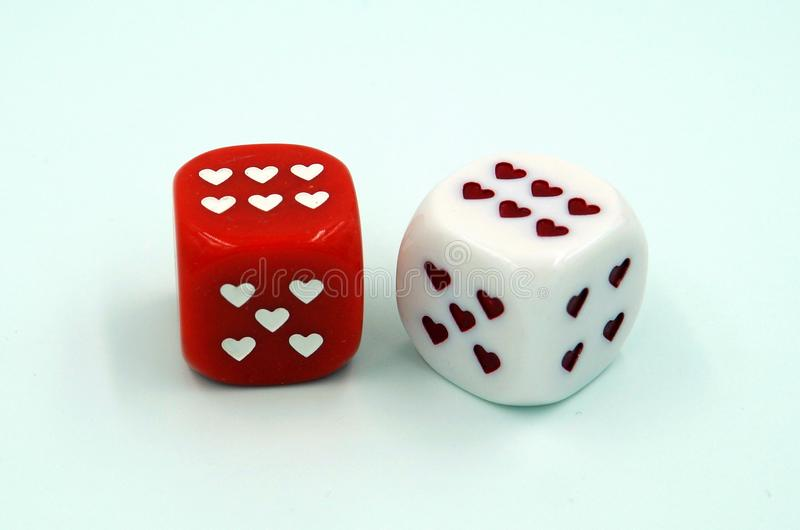 Dice in love - double six royalty free stock photo