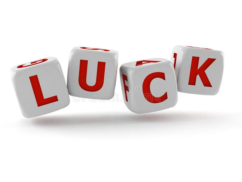 Dice with luck text royalty free illustration