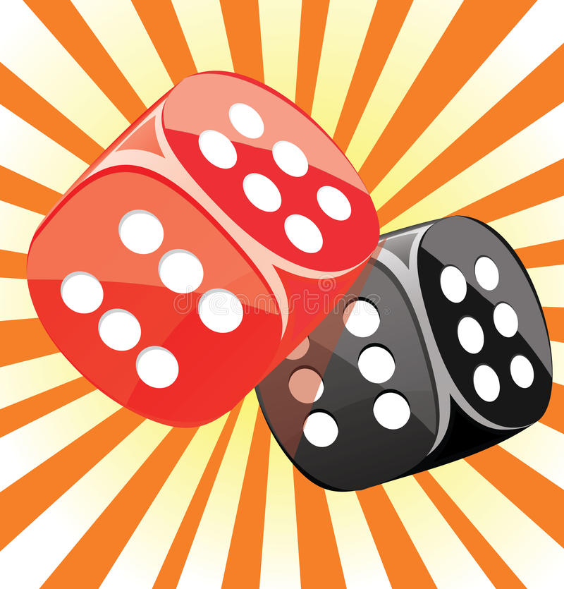 Dice lucky casino gambling game win success. Glossy illustration vector illustration