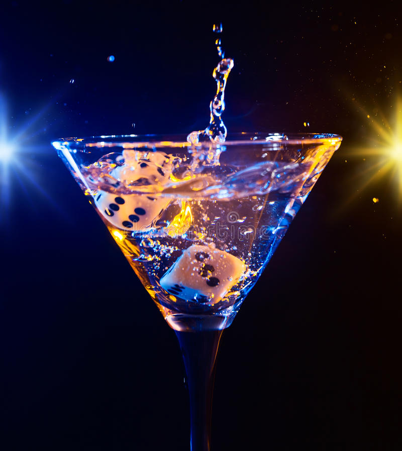 Dice and martini stock image