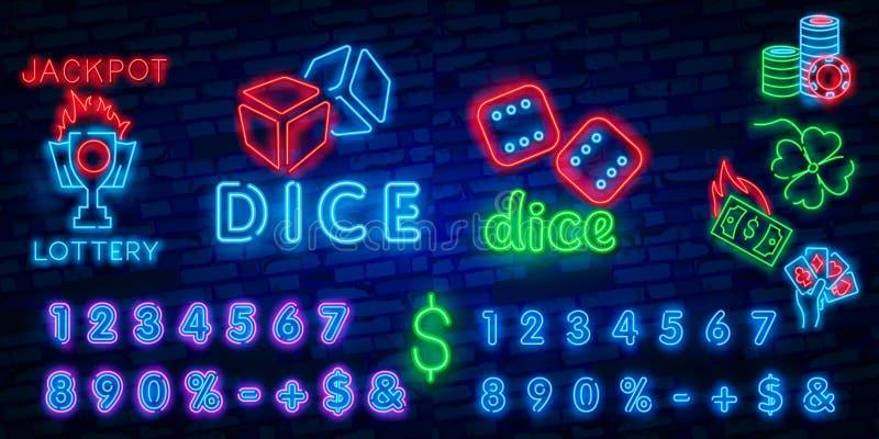 Dice Neon sign vector design template. Dice Game symbols neon logo, light banner design element colorful modern design trend, vector illustration