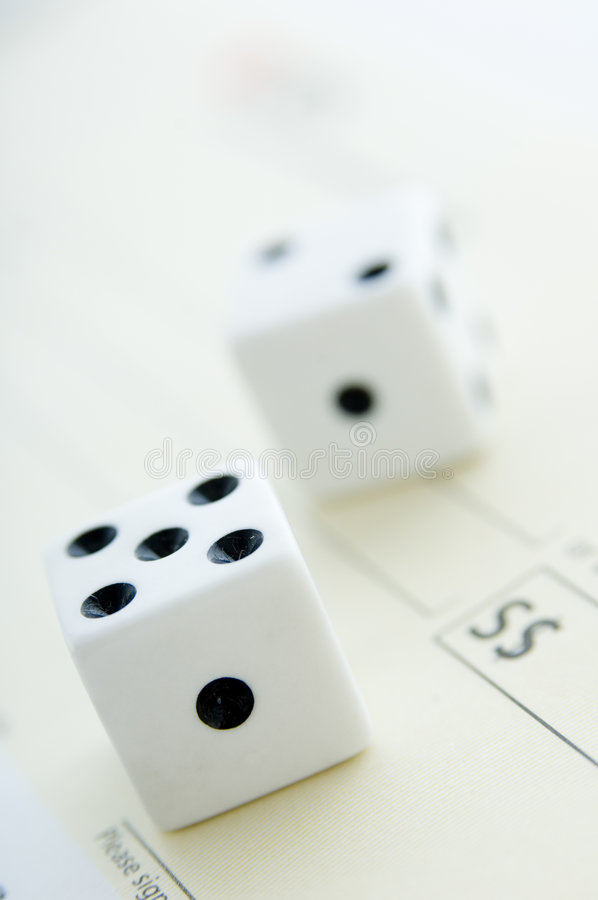 Free Dice On Cheque Stock Image - 1812091