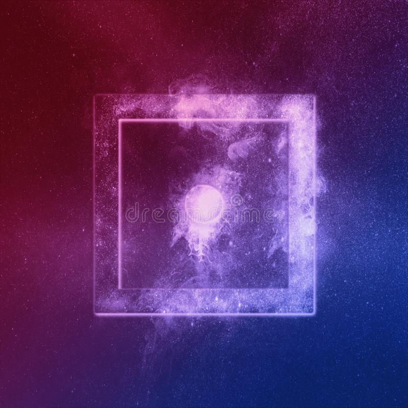 Dice One u góry Red Blue Abstrakcyjne nocne tło ilustracji