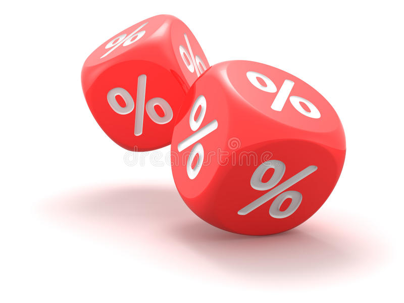 Dice with percent sign royalty free illustration