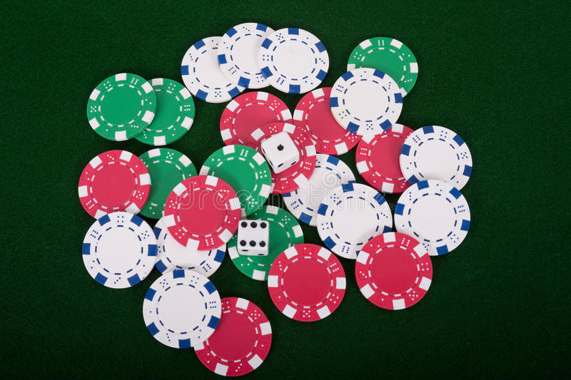 Download Dice On Poker Chips stock image. Image of game, blue - 21509467