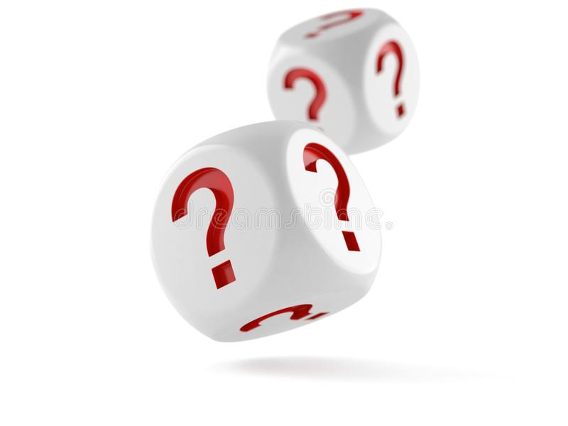 Dice with question mark. On white background vector illustration
