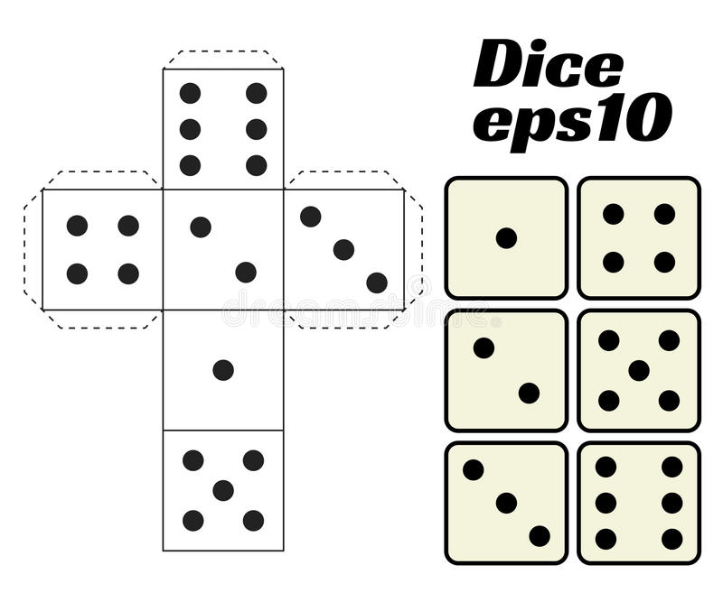 Dice Set. Printable template. Dice Set. Vector illustration. Printable template for cutting from paper. Six faces of a cube. For gambling, casinos, game design royalty free illustration