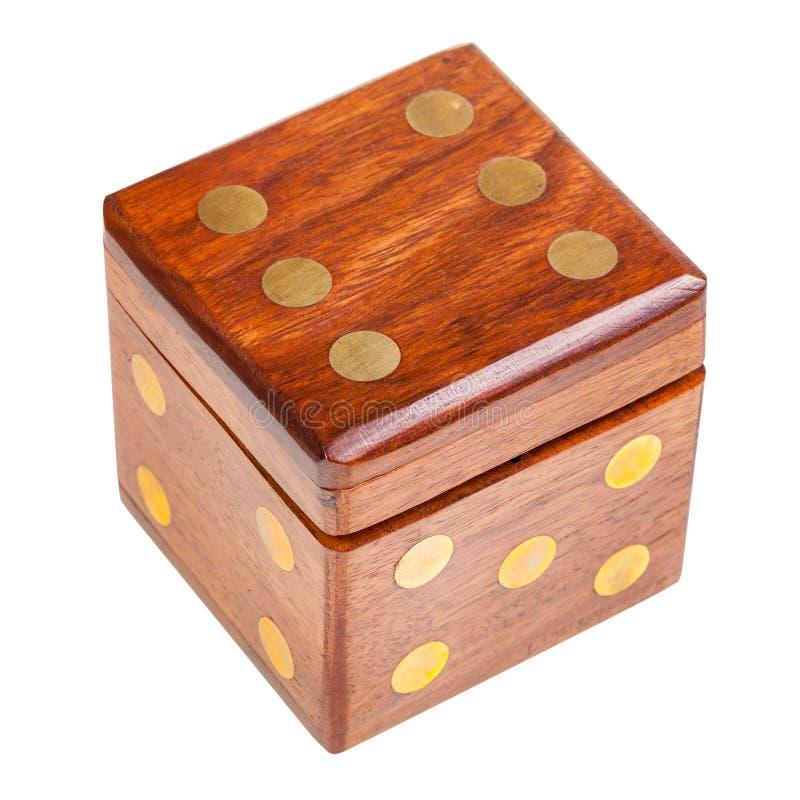 Dice-shaped wooden box royalty free stock photo