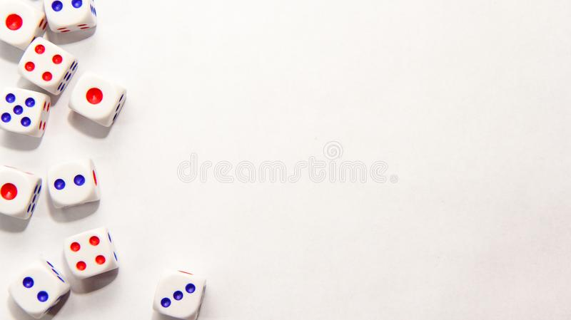 Dice side position on white background stock images