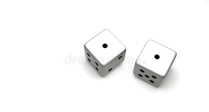 Dice Snake Eyes. Pair of dice with a pair of ones or Snake Eyes isolated on white background stock photos