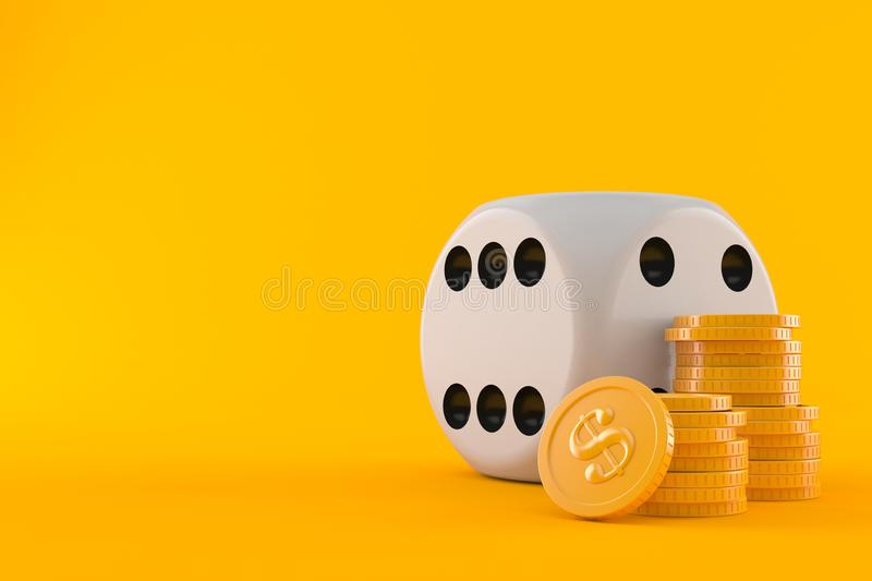 Dice with stack of coins. Isolated on orange background stock illustration