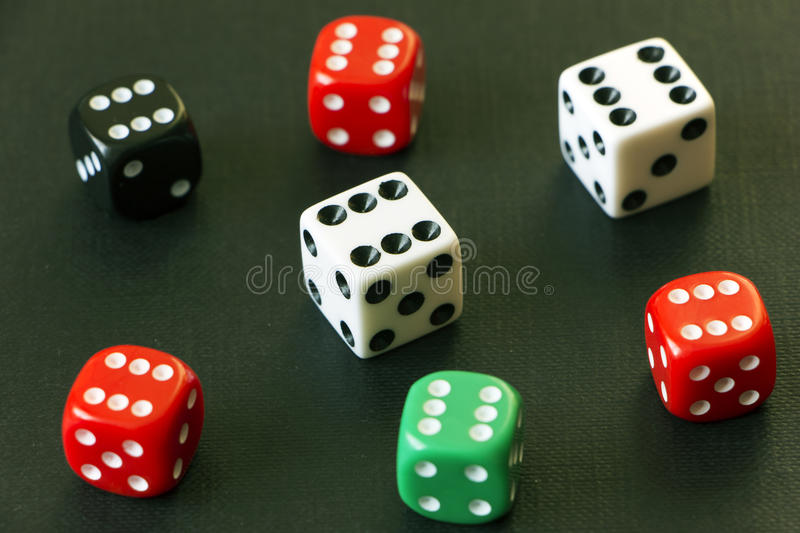 Dice on the table. Risk stock photo